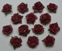 50 BURGUNDY Mulberry Paper Roses (only flower head)